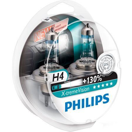 Комплект 2 халогенни крушки Philips H4 Xtreme Vision, +130%, 12V, 55W