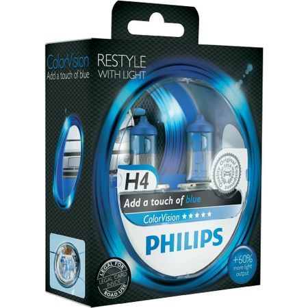 Комплект 2 халогенни крушки Philips H4 Color Vision Blue, 12V, 55W