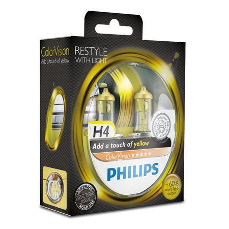 Комплект 2 халогенни крушки за фар Philips H4 Color Vision Yellow, 12V, 55W