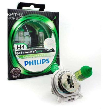 Комплект халогенни крушки за фар Philips H4 Color Vision Green - 2 броя ,12V, 55W