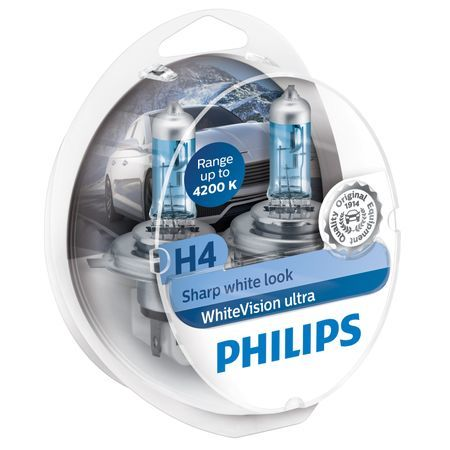 Комплект 2 халогенни крушки Philips H4 White Vision Ultra, 4200K, 12V, 60/55W, P43T-38