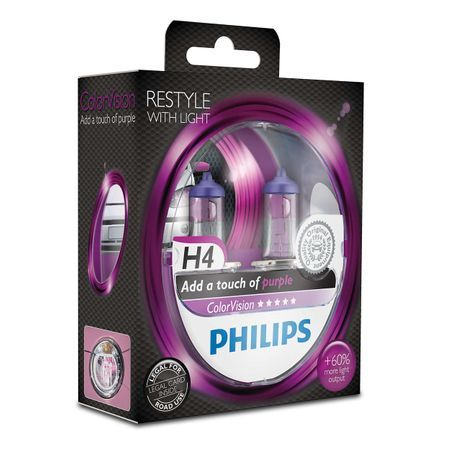 Комплект 2 халогенни крушки Philips H4 Color Purple Vision , 12V, 55W
