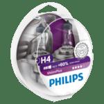 Комплект 2 халогенни крушки Philips H4 Vision Plus, +60%, 12V, 55W