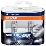 Комплект 2 халогенни крушки Osram H1 Night Breaker Unlimited, up to 110%, 12V, 55W