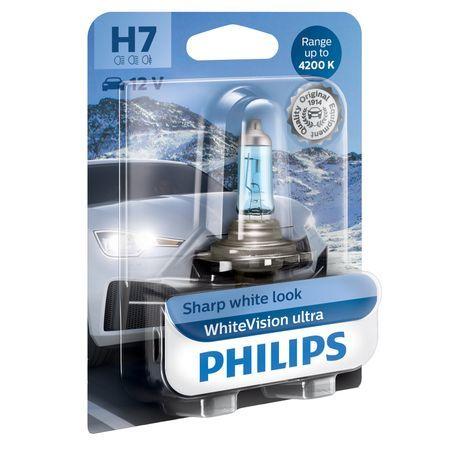 Халогенна крушка за фар Philips H7 White Vision Ultra, 4200K, 12V, 55W, PX26D, Блистер 1 брой
