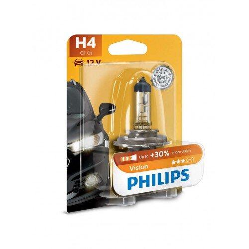 Халогенна крушка за фар Philips H4 Vision, +30%, 12V, 55W, 1 брой