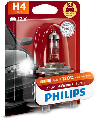 Халогенна крушка за фар Philips H4 Xtreme Vision+130%, 12V, 60/55W