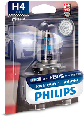 Автомобилна крушка Philips H4 Racing Vision, 150%, 12V 60/55W