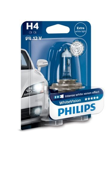 Крушка за фар Philips H4 White Vision, 12V, 55W, 1 бр