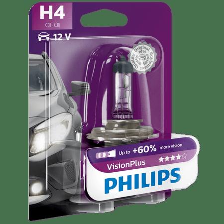 Халогенна крушка за фар Philips H4 Vision Plus, +60%, 12V, 55W, 1 брой