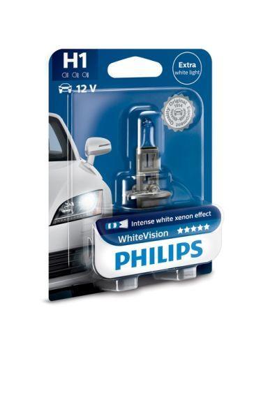 Халогенна крушка за фар Philips H1 White Vision, 12V, 55W, 1 брой