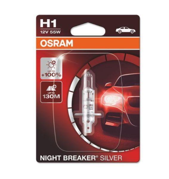 Халогенна крушка за фар Osram H1 Night Breaker Silver+100%, 55W,12V,1 бр.