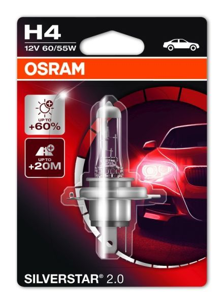 Халогенова крушка за фар Osram H4 Silverstar, до 60%, 12V, 55W, 1 бр