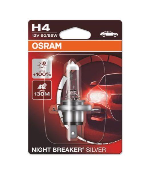 Халогенна крушка за фар Osram H4 Night Breaker Silver +100%, 60/55W, 12V