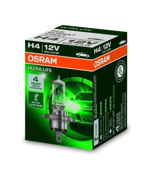 Халогенна крушка за фар Osram H4 Ultra Life 12V, 55/60W, 1 бр.