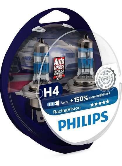Комплект 2 халогенни крушки Philips H4 Racing Vision, 150%, 12V 60/55W