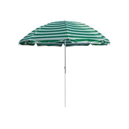 Плажен чадър 230 см, Happy Green, зелени райета