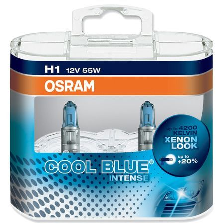 Комплект 2 халогенни крушки Osram H1 Cool Blue Intense, up to 20%, 12V, 55W