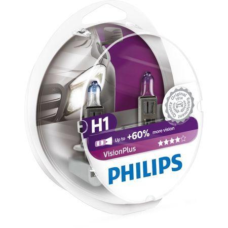 Комплект 2 халогенни крушки Philips H1 Vision Plus, +60%, 12V, 55W