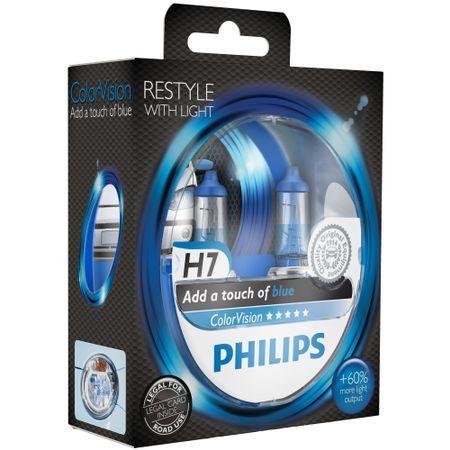 Комплект 2 халогенни крушки Philips H7 Color Vision Blue, 12V, 55W