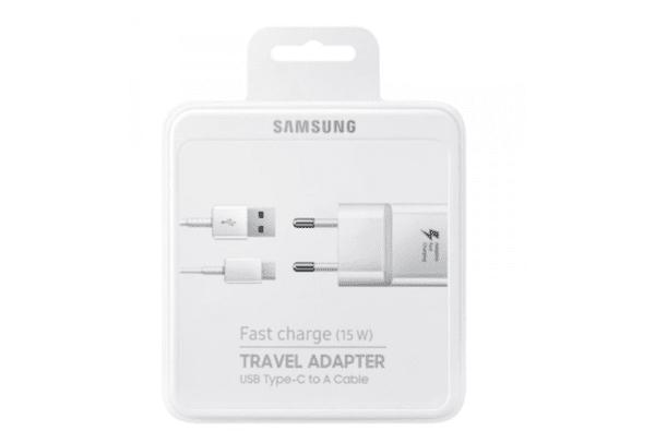 Зарядно Samsung Adaptive Fast Charge (15W), Travel adapter +  USB Type-C cable, бял
