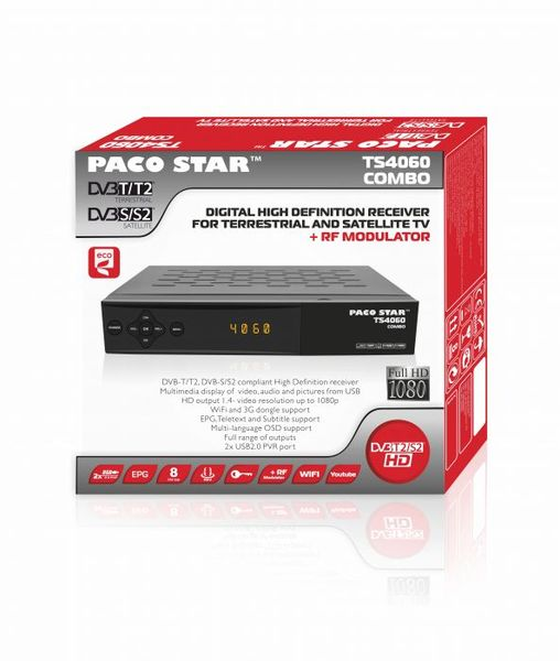 Комбиниран HD Ефирен DVB-T/T2 + Сателитен DVB-S/S2 приемник TS4060, с RF модулатор