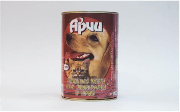 Храна за кучета Archie Консерва, Телешко месо с ориз и зеленчуци, 1150g