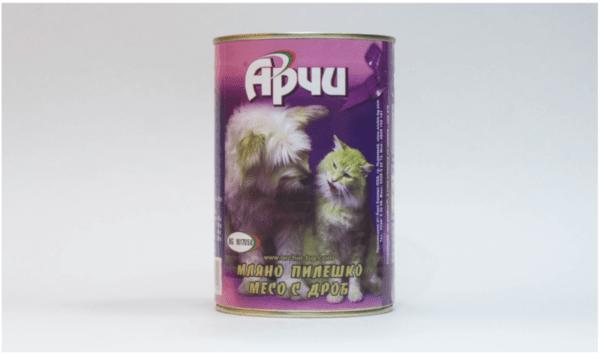 Храна за кучета Archie Консерва, Мляно пилешко месо с дроб, 1150g