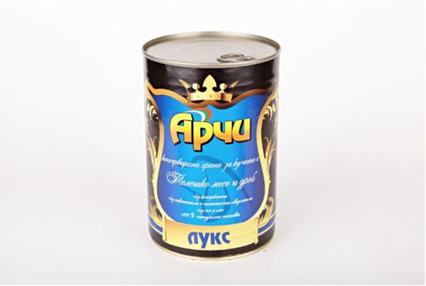Храна за кучета Archie Лукс Консерва, Телешко месо и дроб , 1150g