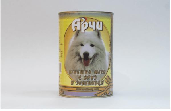 Храна за кучета Archie Консерва, Агнешко месо с ориз и зеленчуци, 1150g