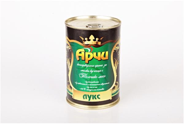 Храна за малки кучета Archie Лукс Консерва, Телешко месо , 405g
