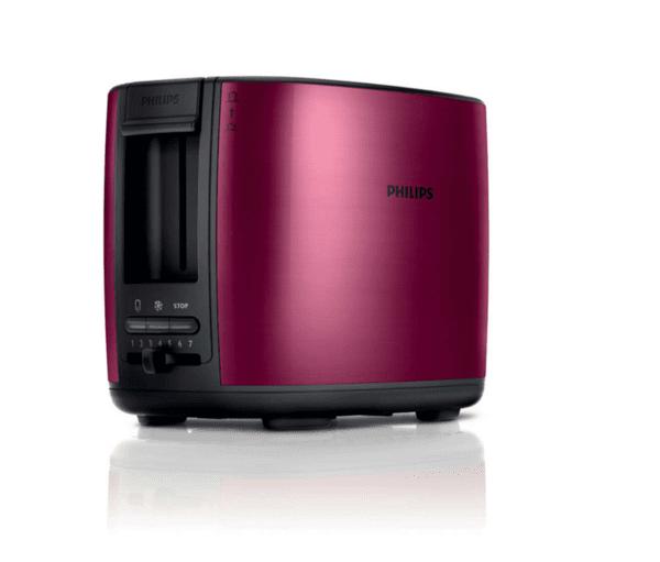 Тостер Philips, 950 W, 7 Настройки, Червен