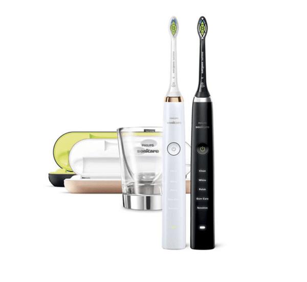Комплект четки за зъби с акумулаторна батерия Philips Sonicare DiamondClean, 5 режима, 2 глави за четка, Зареждаща чаша, калъф за пътуване