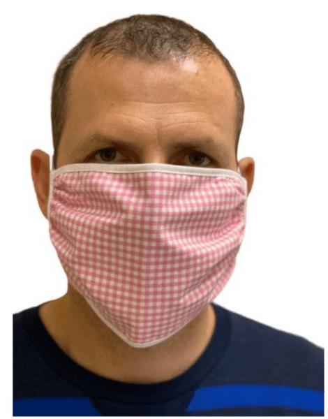 Предпазна маска от памучен плат за многократна употреба, Двуслойна, розово