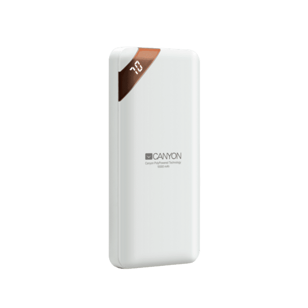 Външна батерия Canyon power bank 10000mAh, CNE-CPBP10W, бял