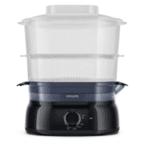 Уред за готвене на пара Philips Daily Collection 5 L, 900 W, съд за ориз/супа, инфузер за подправки и аромати, контейнер за яйца, черен