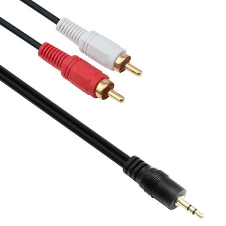 Аудио кабел DeTech 3.5 - 2RCA, 1.5м. high quality