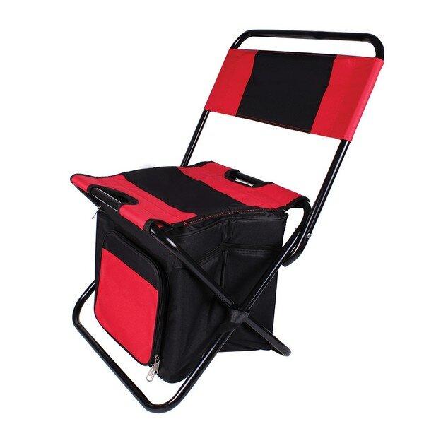 Къмпинг стол с хладилна чанта Muhler, червен