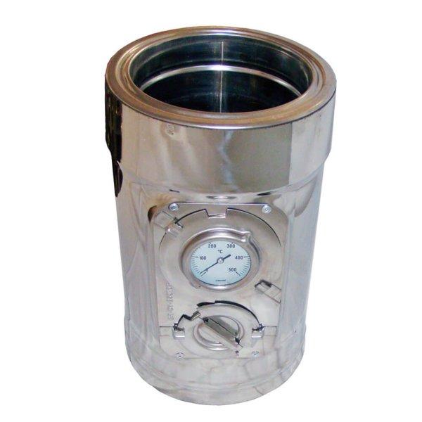 Иноксов комин изолиран ревизионен елемент с термометър