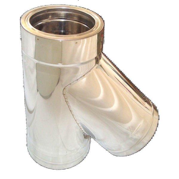 Иноксов комин изолиран тройник с тапа 135°