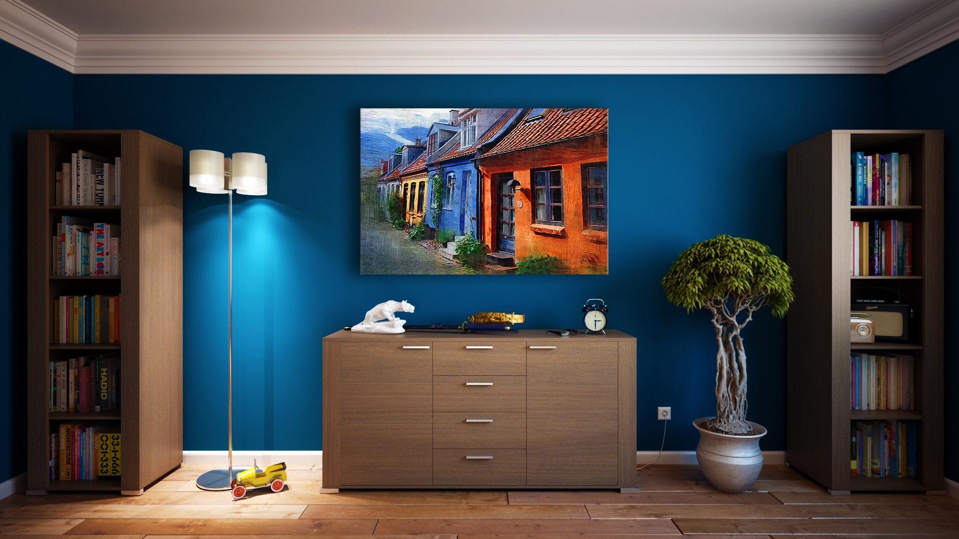 снимка интериор със сини стени