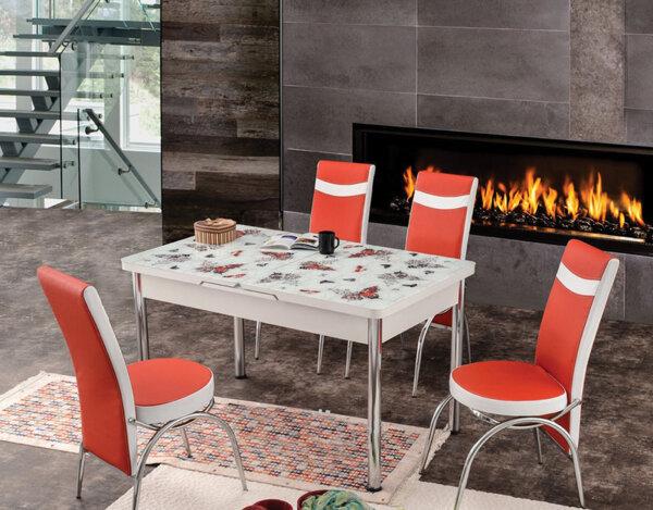 Трапезен комплект - маса с 4 стола, различни цветове