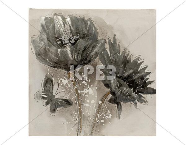 """Дървена картина """"Цветове и пеперуда"""" - 60 x 60 cm"""