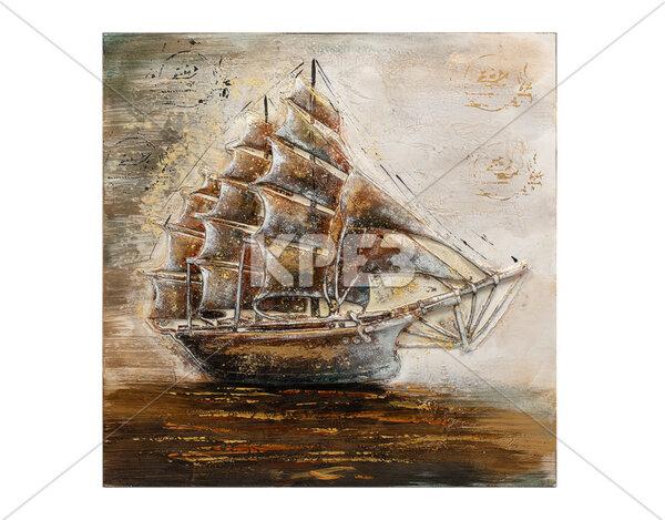 """3D картина """"Кораб в бурно море"""" - 80 x 80 cm"""