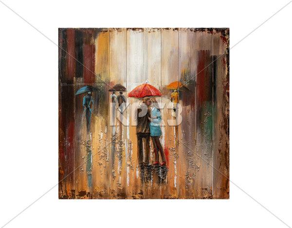 """3D картина """"Градска романтика в дъжда"""" - 91 x 91 cm"""