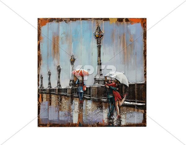 """3D картина """"Дъждовна романтика на мост"""" - 91 x 91 cm"""