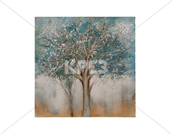 """3D картина """"Сиво-синьо дърво"""" - 100 x 100 cm"""