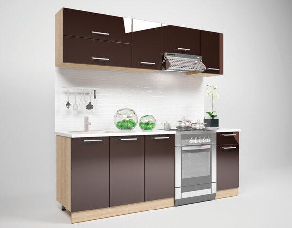 Кухня Grace - 220 cm - гланц/шоколад