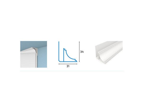 Перваз за PVC ламперия - 3.4 x 3.1 x 300 cm