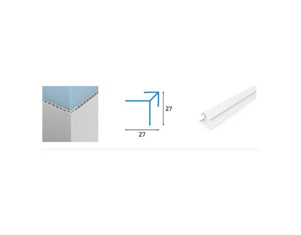Външен ъгъл за PVC ламперия - 2.7 x 2.7 x 300 cm